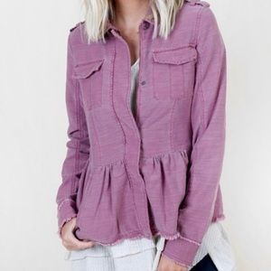 NWT Altar'd State Peplum Military Jacket Mulberry